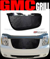 For 2007-2014 GMC Yukon Denali Black Badgeless Mesh Front Bumper Grill Grille