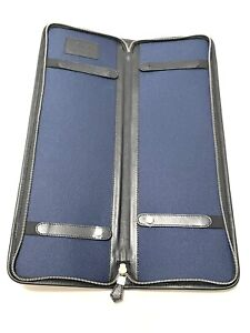 Brooks Brothers Authentic Black Leather Tie Holder Protective Travel Case (Read)