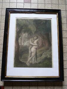 ADAM et EVE-LE PARADIS PERDU ancienne LITHO couleurs-CADRE NAPOLEON III-1