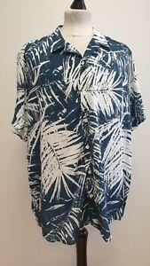 MENS JACAMO BLUE WHITE PATTERN SHORT SLEEVED HAWAIIAN SHIRT UK XL EU 54-56
