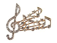 Gold Music Musical Note Brooch Crystal Diamante Treble Clef Scarf Pin Jewelry UK