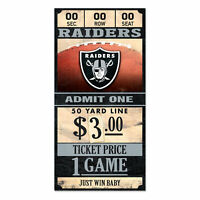 Oakland Raiders Old Game Ticket Holzschild 30 cm NFL Football Wood Sign