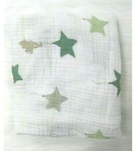 Aden + Anais Elephant Stars Fitted Sheet Muslin Cotton Green White B69