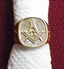 14K Yellow Gold Masonic Ring Mason Compass Size 7