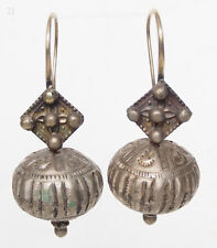 Antique Orient nomades Boucles d'oreilles afghan tribal Kuchi tussles vintage earring 17/21