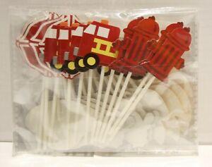 Sunsor Firefighter Fireman Firepup Firetruck  Cupcake Toppers - 24pc