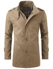 Mens Zip Closure Front Autumn Fashionable Trench Coat Khaki L