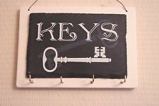 Shabby Chic Key Hooks Keys Rack Vintage Style Black and Cream Slate 18cm F1562