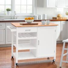 Wood Solid Nordic Kitchen Trolley Wine Rack Storage Cupboard Cabinet Cart Island