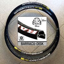 """cerchi 26"""" AMBROSIO BARRACU-DISK NUOVI 32h black anodized RARE MTB RIMS 559-18,5"""