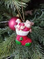 Luxury Hanging Christmas Decorations  Teddy Bear Stocking - Store Clearance Sale