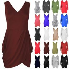 Womens Ladies V Neck Wrap Over Detail Tunic Tulip Shape Party Evening Mini Dress