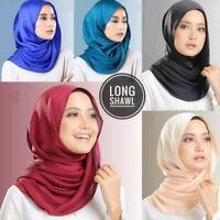 Women Plain Bubble Cotton Jersey Scarf Solid Color Head Hijab Wrap Shawl Foulard