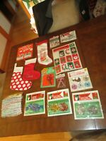 Vintage Christmas Stocking Card Holder Doubl Glo Trim Tags & More (D567)