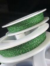 (1) Green w/ White Genuine Irish Linen Single Pool Billiard Cue Wrap Spool