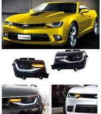 2014-2015 Chevrolet Chevy Camaro  Headlight  LS LT SS Black LED Projector 1Pair