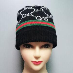 100% Authentic  wool knit hat hat cotton/g Black   AAAAA+