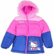 Hello Kitty Toddler Girls Pink Fur Like Lined Puffer Hooded Winter Jacket Sz. 2T