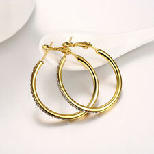Classic 18k 18ct Yellow Gold Filled GF Hoop Crystals Woman Earrings E-A541-Y