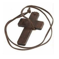 NEW Wood Cross Pendant Jesus God Charm Leather Necklace Natural Jewelry Gift