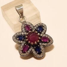 Natural Ceylon Sapphire Burmese Ruby Pendant 925 Sterling Silver Fine Jewelry AA
