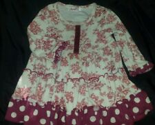 JUPON boutique Baby Nay Ivory Pink red  Floral Toile polka dot/Ruffle Dress~ 18m