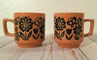 (2) Brown flower butterfly Retro coffee tea cups embossed glazed Japan Otagiri