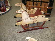 """Rare ANTIQUE Hand Painted Wooden GLIDER """"DOUBLE HORSE"""" for CHILD"""