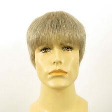 Perruque homme 100% cheveux naturel blanc méché gris STEVE 51