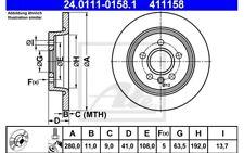 ATE Juego de 2 discos freno Trasero 280mm para VW GOLF FORD 24.0111-0158.1