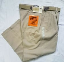 New Haggar 40x29 Classic Pleated Belted Khaki Pants #740189