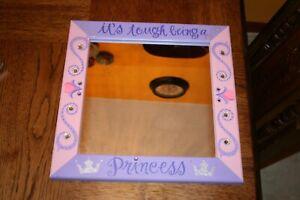 "Girls Room Decor ""It's Tough Being A Princess"" Mirror Pink Purple Sparkle"