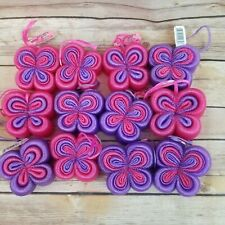 Lot of 12 New Butterfly Shaped Mesh Bath Sponges Pink Purple