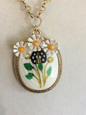 Betsey Johnson Flower Child Mother Of Pearl Locket $65 Q-10A