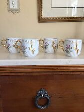 Signed M R Limoges M REDON PORCELAIN Demitasse Cups Set Of 4! Beautiful!