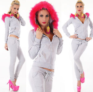 Ladies Jogging Suit House Sports Fitness Hood Faux Fur Pink Jacket Trousers Grey