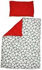 Cot Duvet Cover and Pillowcase Set 100 x 135 cm 100% COTTON mickey&red wh dots