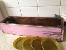 FIORIERA in legno fiore/PINO/scatola di finestra Rosa Vintage include 4 VASSOI Pot