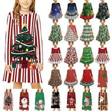 Christmas Toddler Kid Girls Shirt Dress Long Sleeve Loose Xmas Tree Mini Dresses