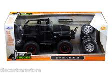 JADA 2007 JEEP WRANGLER WITH EXTRA WHEELS MATT BLACK 1/24 MODEL CAR 97689