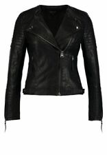 Topshop Biker Jacket Black Faux Leather Size 10