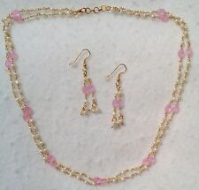 Faceted Pink Necklace And Earring Set New 2 Strand Cultured Mini Pearls And