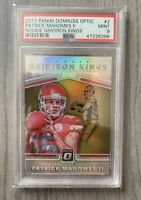 🔥 2017 Patrick Mahomes RC Rookie CARD Gridiron Kings Donruss Optic PSA 9 🔥