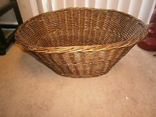 Vintage / Antique French Style Wicker Rattan Large Laundry Oval Basket