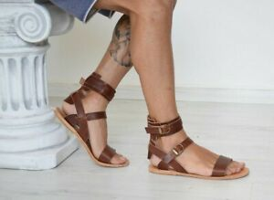 mens genuine leather gladiator sandals strap ankle strap Roman Greek brown