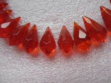 50  Red Glass Tear Drop Beads Size 20 x 10mm - 1mm Diaganol Hole - Ideal Crafts