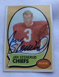 KANSAS CITY CHIEFS JAN STENERUD AUTOGRAPHED 1970 ROOKIE CARD TOPPS