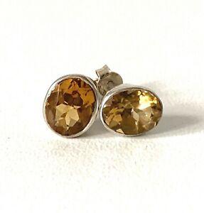 Sterling Silver Dark Citrine Colour Oval Stud Earrings - Butterfly Fastening