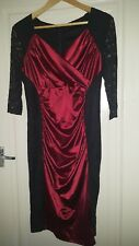 satin red dress with black lace