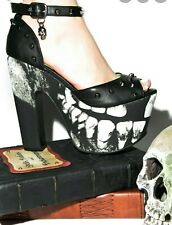 HTF! Iron Fist Woman's Loose Tooth Super Platform Heels Shoes Skull Goth SIZE 7